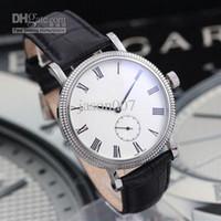 mens relógios de couro branco da faixa venda por atacado-Venda por atacado - homens relógios mecânicos automáticos Calatrava Regulator mostrador branco pulseira de couro preto mens