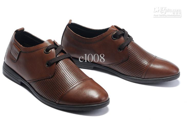 Best Cheap Men Casual Leather Shoes Punching Leather Vamp Vogue ...