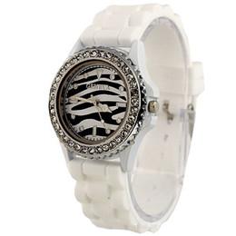 Wholesale Geneva Bangle Watches - Fashion women men Geneva Leopard grain watches Diamond silicone zebras watch geneva 11colors cheap watch wristwatches bangle drop shipping
