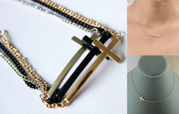 Wholesale Mixed Sideways Cross Bracelets - 6%off!2015new Gold silver and black simple sideways cross 50pcs necklace or 50pcs bracelet 100pcs lot
