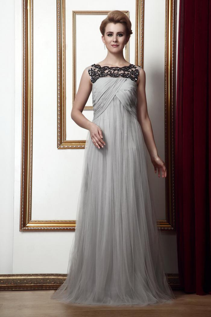Classic Silver Gray Draped Tulle Evening Gowns Beaded Appliques ...