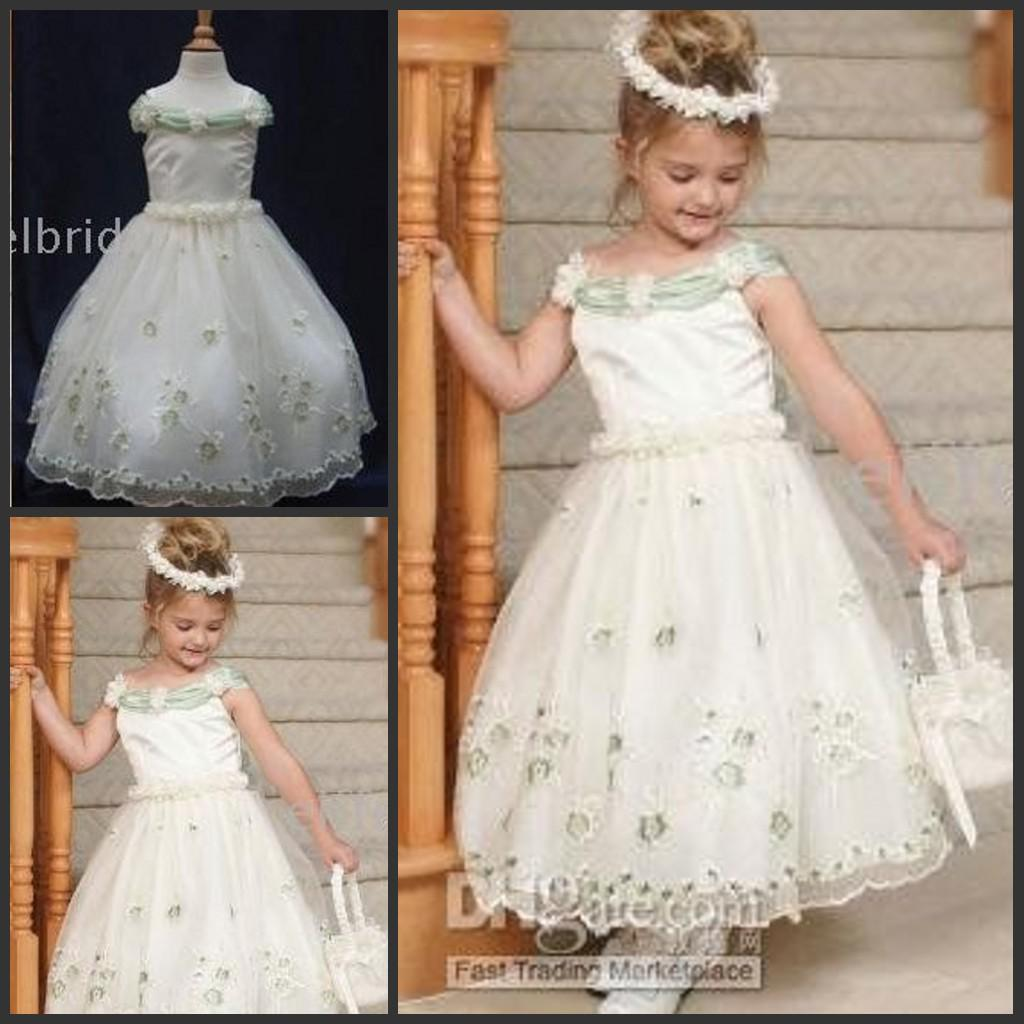 Pretty A Line Fluffy Flower Girl Dress Off Shoulder Ankle Length