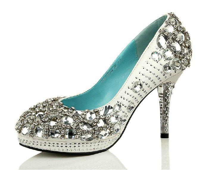 White Diamond Custom Made High Quality Shinning Pearl Upper Stiletto Heel Wedding Pumps Party Shoes