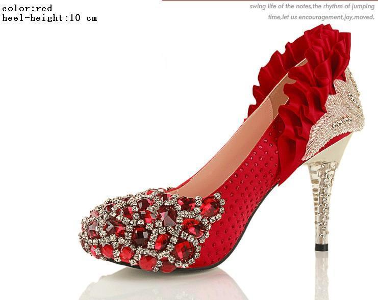 2 Couleurs 3 Sortes Diamant Haute Qualité Shinning Perle Haute Stiletto Talon Pompes De Mariage Parti Chaussures