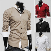Wholesale Slim Dresses Korea - New Korea Men's Shirts Mixed Colors Mens Slim shirts mens long sleeve shirts 2527