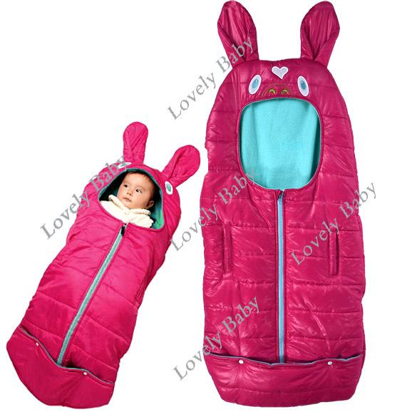 Baby Cute Sleeping Bag Safety Foot Muff Wrap For Pram Stroller Crib Rose Red 9518