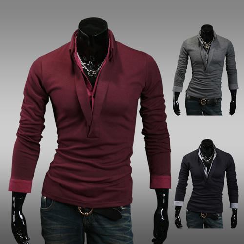2013 New Men's T Shirts Men's V Neck Long Sleeve T Shirt Mens T ...