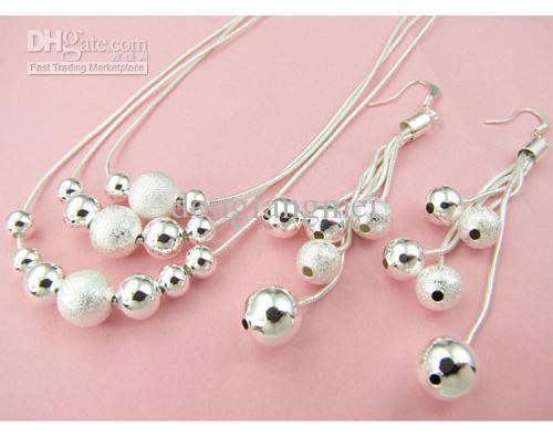 DSSS-068, hot sale women's silver jewelry set ,High grade 925 sterling silver neckace earring set