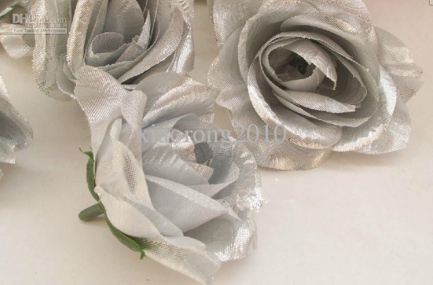 Nuovi arrivi Argento Colore Artificiale Silk Rose Peony Flower Teste di fiori la decorazione della parete floreale di nozze