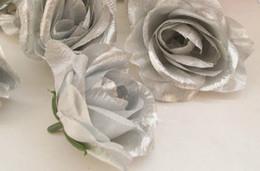 Canada Nouveautés 100pcs Argent Couleur Soie Artificielle Rose Pivoine Têtes de fleurs pour Mariage floral décoration murale supplier artificial floral wall Offre