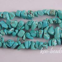Wholesale Turquoise Gemstone Chips - Green Turquoise Chip Loose Beads Gemstone Strand 34""
