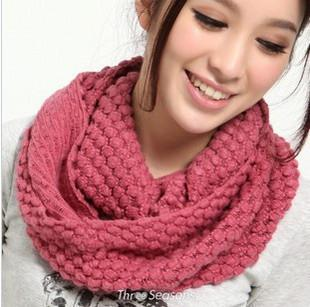 On Sale Autumn and Winter Corn Kernels Yarn Scarves Chromophous Knitted Circle Ring Scarf Women 1PC Retail Fashion Cheap Clothing Accessory