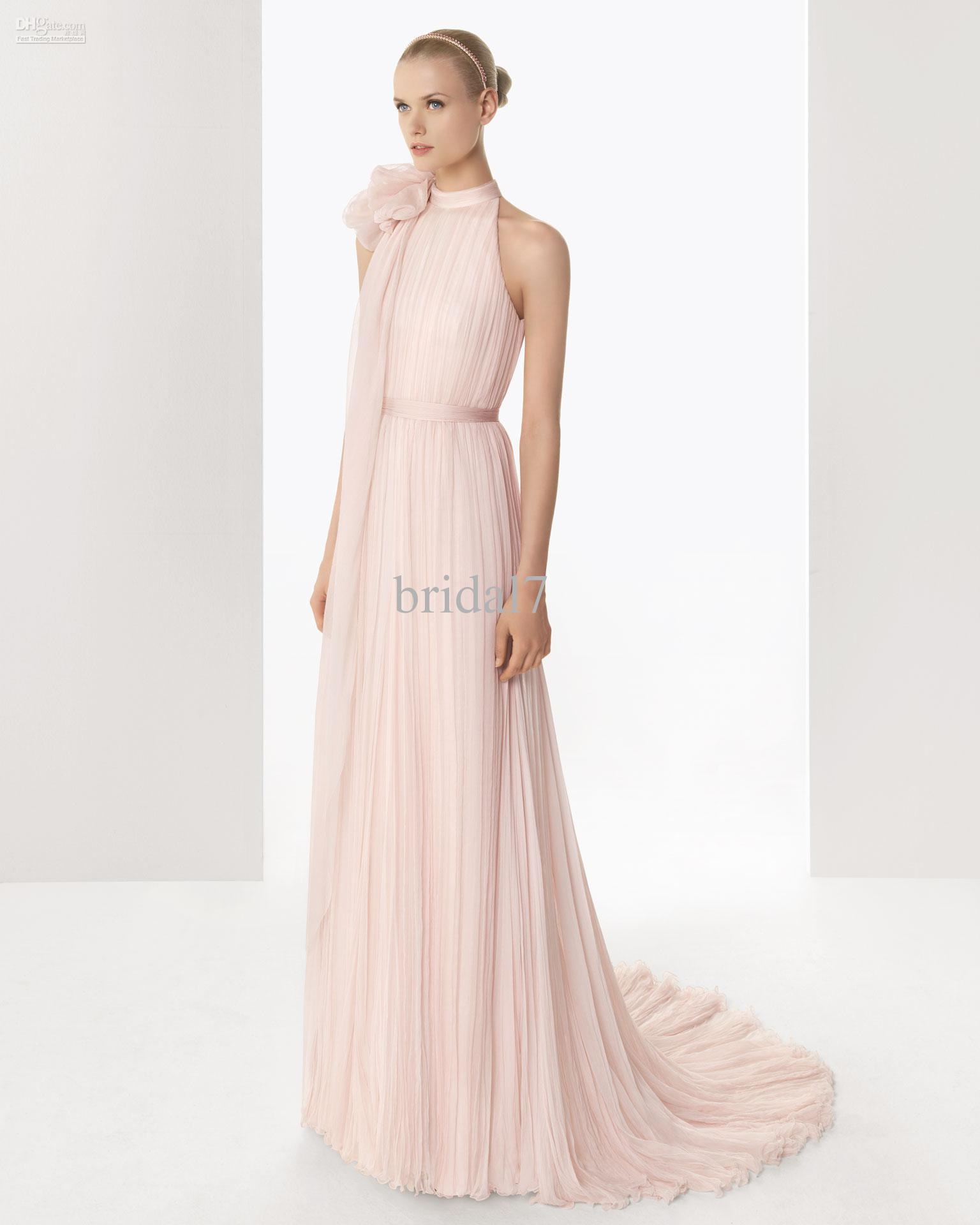 2015 Lovely High Collar Light Pink Chiffon Evening Gowns A Line ...