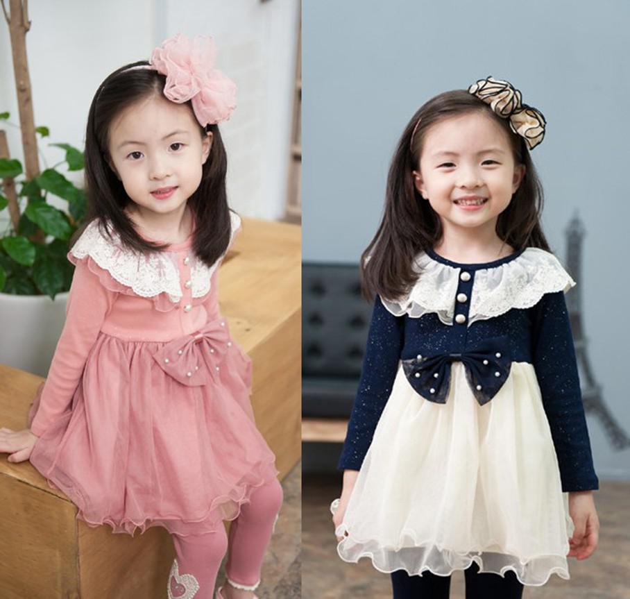 Girls Double Lace Collar Dresses Bow Flounced Gauze Cotton Dresses Children's Clothing