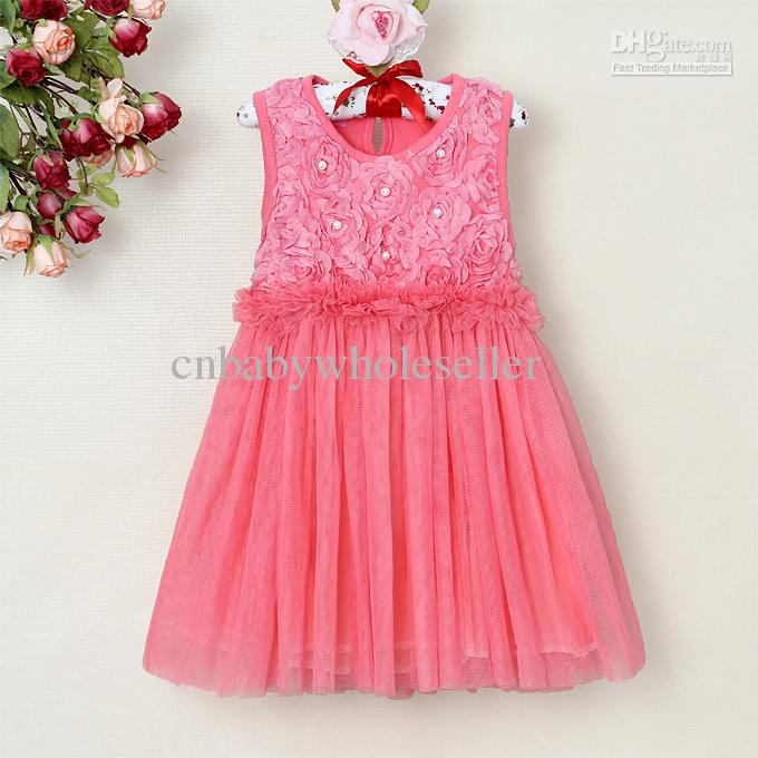 2017 2013 New Girls Lace Dresses Hot Pink Baby Princess Party ...