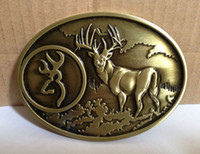 Wholesale Deer Oval - Bronze color Brass Deer in the woods full boby oval belt buckle suitable for 4cm wideth snap on belt sw-b310,free
