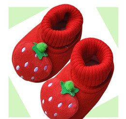 Wholesale Thick Slip Pad - Wholesale Children's shoes toddler shoes lovely strawberry shoes thick warm Cotton-padded shoes 12p