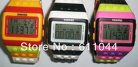 30pcs / lot Sport Lego Digital Watch JCDC POP ЧАСЫ Candy LED Light Rainbow SHHORS Пластиковые часы