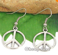 Wholesale Dangle Peace - 100% Brand New 20 Pairs Cute Tibetan Silver Peace Charm Pendant Dangle Earrings 18x37mm Dangle & Chandelier 13030332