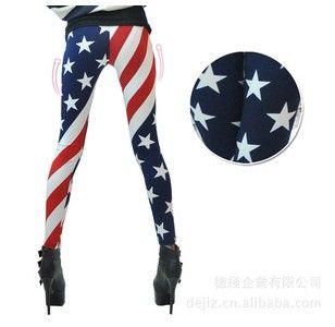 2017 Горячая распродажа 5 шт. * Новые женщины США США Американский флаг полоса космический звездный печать модные леггинсы колготки божевые штаны