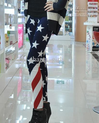 2017 Venta caliente 5 unids * Nuevas mujeres Estados Unidos bandera americana raya espectánsea impresión de la estrella de la estrella de la moda Pantalones de Leges de Leges