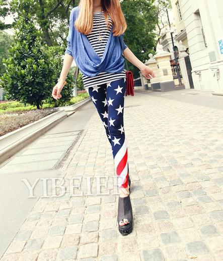 2017 vente chaude * nouvelles femmes USA drapeau américain Stripe Stripe Star Star Imprimer Leggings de mode Collant Legwear pantalons