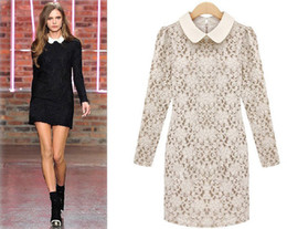 Wholesale Dreeses Woman - New 2016 fashion women's dreeses Fashion ladies lapel lace Slim dress long sleeve one-piece dresses