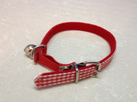 Wholesale High quality classic red and white grid cat collars with silver bell