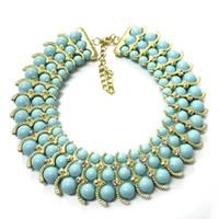 gargantillas de oro 14k al por mayor-Nueva Declaración Gargantilla Collar Moda 14 K Chapado en Oro A + Collar de Cristal Collar Austriaco Burbuja Declaración Babero Collar Colgante 8.8cm