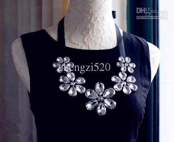 Super Shiny Kettingen Crystal Camellia Lint Kettingen Fake Collar