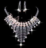 Wholesale Essence Bridal - 2013 Essence Bridal Gorgeous Clear Crystals Imitation Pearls Bridal Jewelry Set Necklace Earclips