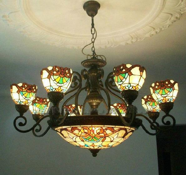 Tiffany Art Colorful Glass Chandelier Vintage Style Glass