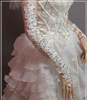 guantes largos de novia de marfil al por mayor-Encantador vestido de novia rojo marfil Guantes de novia Accesorios nupciales Largo con cuentas de encaje Sequi
