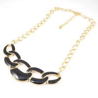 Wholesale Bubble Bib Blue Necklace - new Black pink blue gold plated statement bubble bib necklace Chain pendant 10pcs lot punk style