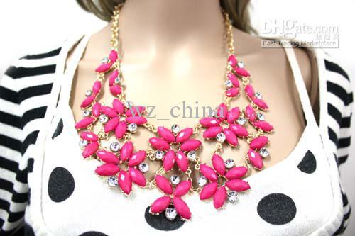 Brand New Red / mix cor moda declaração gargantilha A + colar de cristal colar de pingente de 30 cm frete grátis