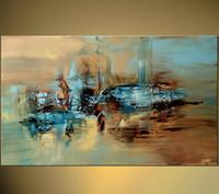 imagen del árbol de tres paneles al por mayor-Arte de la pared grande de la pintura al óleo abstracta hecha a mano del 100% en la lona Envío libre de la alta calidad