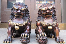 Wholesale Bronze Foo Dogs - Chinese Red Bronze Door apotropaion talisman Foo Dogs Door Lion Pair