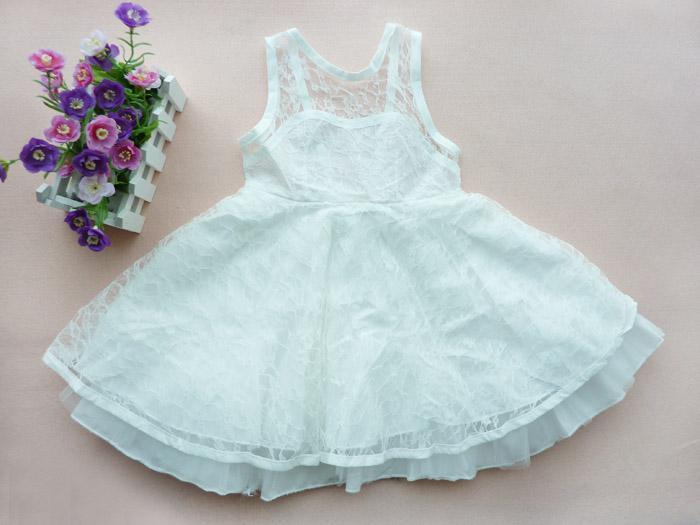 Lace Flower Girl Dress Phelfish 3-7 år Barn Backless Jumper Kjol Girl Sommar Söt Party Dress