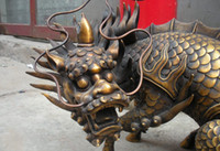 Chinese Royal Superb Pure Bronze Dragon kylin Kirin bestia Palacio estatuas