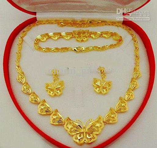Wedding Jewelry Sets Butterflies Jewelry Set 18K Gold Plated