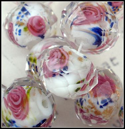 Wholesale Glass Inside - Lampwork Glass Beads Pink Flower Royal Blue Leaves Inside Faceted 80Pcs Rondelle White Glass Beads 12MM1 13030427