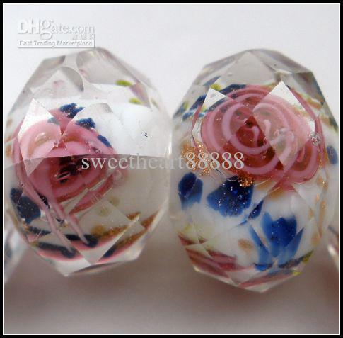 Lampwork Glass Beads Rosa Flor Royal Azul Folhas Inside Faceted Rondelle Vidro Branco Grânulos 12mm1 13030427