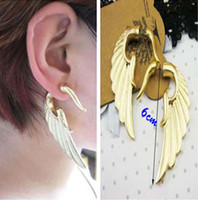 Wholesale wholesale gothic metal punk rock - 20% discount! Fashion New Gothic Punk Rock Women Jewelry Metal Wing Ear Cuff Earrings 2colors