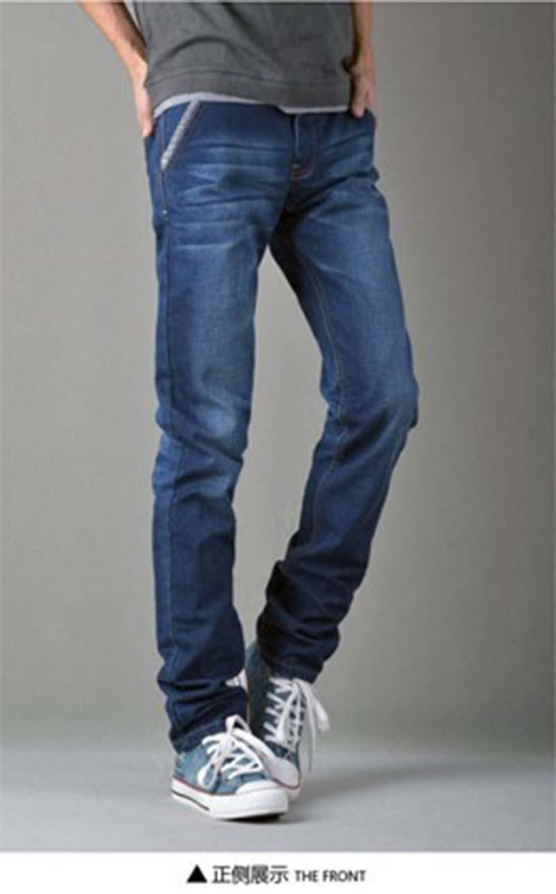 2016 Men Jeans Slanting Pocket Boot Cut Jeans Ripped Washed Jeans