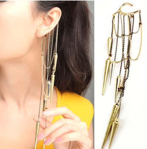 New Fashion Vintage Long Cartilage Chains Chomp Tassel Rivet Ear Cuff Hook Earrings Free shipping