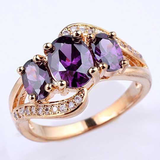 2018 WomenS 3 Egg Stone Purple Amethyst Gold Finish S925 Sterling