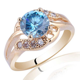 Wholesale Blue Topaz Ring Sterling - Round Cut Blue Topaz Gold Plated S925 Sterling Silver Ring NAL R096 Size 6 7 8 9