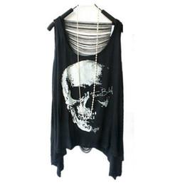 печатная одежда Скидка 2013 мода женщины панк футболки череп печатных Синглетное платье жилет свободные повседневная футболка панк одежда