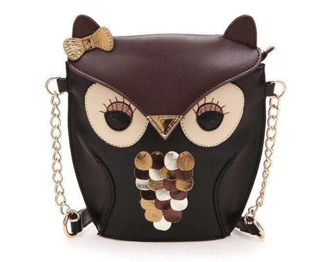 Luxury Women Owl Cartoon Pu Leather Bag Owl Style Colorful