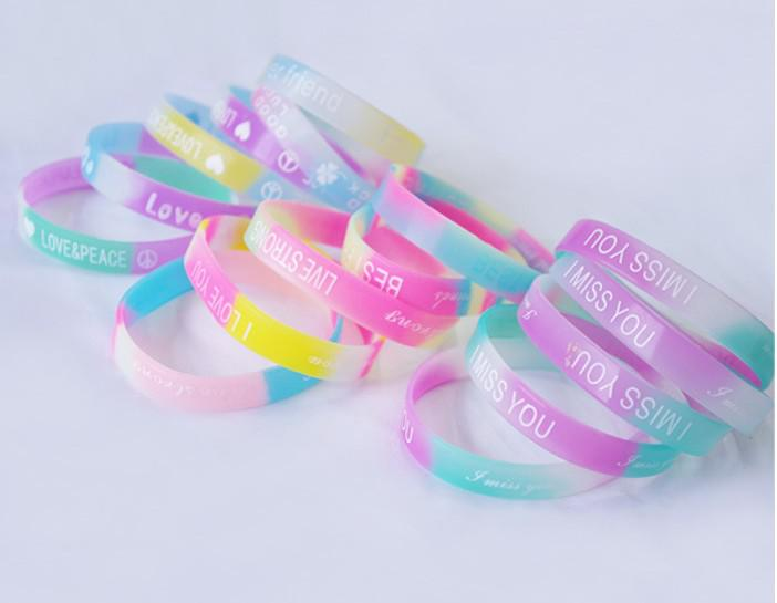 Fashion jelly silicon glow rubber wristband bracelet unisex sport candy colors bracelets cuff band mixed colors